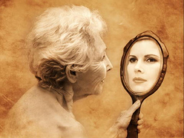 old woman mirror
